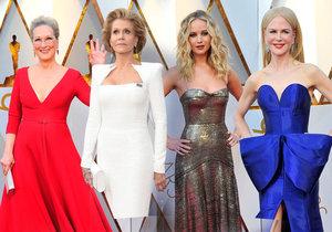 Šaty všech barev na Oscarech: Meryl Streep v rudé, Kidman v modré!