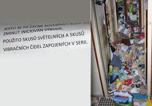 Nájemník (49) v Botanické ulici v Brně zaskládal byt odpadky. Navíc napsal vzkaz, že se mezi nimi ukrývá nálož.