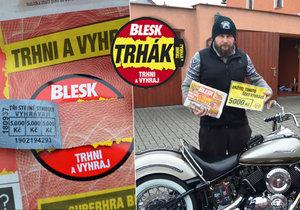 Milovník silných strojů Radek Kriebel v Trháku vyhrál 5 tisíc.