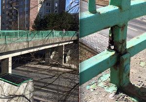Lávka pro pěší nad Štěpařskou ulicí na Barrandově je prorezlá, podle TSK se letos opraví.