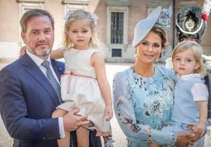 Švédská princezna Madeleine s manželem Chrisem O'Neillem a dětmi, princem Nicolasem a princeznou Leonore