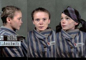 Czeslawa Kwoka na kolorovaném snímku po příchodu do Osvětimi