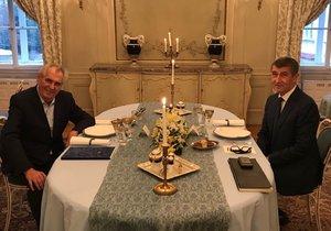 Babiš v Lánech po večeři se Zemanem: Prezident mi do sestavování vlády mluvit nebude