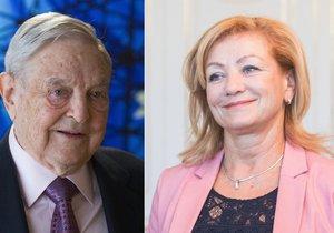 Kandidátka na slovenskou ministryni kultury Ľubica Laššáková (Smer-SD) a miliardář maďarského původu George Soros