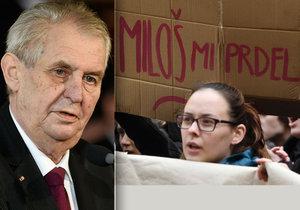 Miloš Zeman odsoudil studentské protesty kvůli tomu, že na nich měla vystoupit i 12letá holčička.