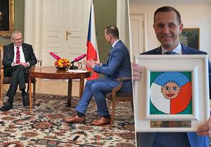 Miloš Zeman opět vystoupil u Jaromíra Soukupa na TV Barrandov. Majitele televize obdaroval.