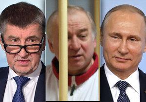 Premiér v demisi Andrej Babiš, otrávený ruský exšpion Sergej Skripal a prezident Ruska Vladimir Putin