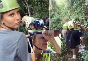 Simona Krainová se zhroutila po jízdě na laně nad pralesem.