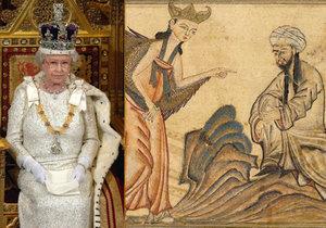 Alžběta II. a Mohamed s andělem