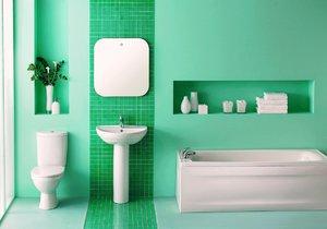 Zelená barva se do koupelny hodí.