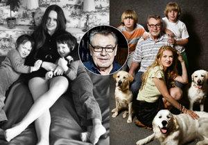 (Nalevo) Herečka, zpěvačka a výtvarnice Věra Křesadlová se syny, kteří se narodili 23. srpna 1964. (Napravo) Spisovatelka Martina Formanová (rozená Zbořilová) s Milošem Formanem a dvojčaty, která přivedla na svět v roce 1998.