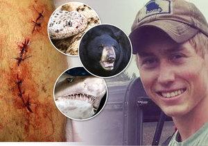 Dvacetiletý mladík přežil útok žraloka, medvěda a chřestýše.