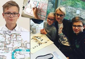 Lidi mě se*ou, ale dělám je šťastnými: Autistický génius Matěj (14) maluje zpaměti složité mapy MHD