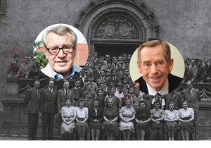 1948: Na společné fotografii studentů zcela vlevo Forman, nad pátou sedící ženou Havel, vpravo od něj Klemens, nad Havlem tvůrce animovaných filmů a dokumentů Pavel Fierlinger (82).