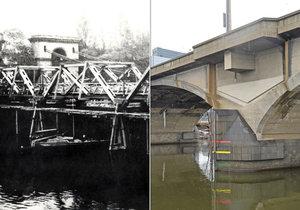 Libeňský most a jeho provizorní dřevěný předchůdce