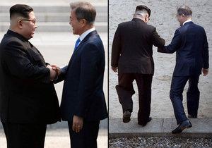 To tu ještě nebylo: Kim se s šéfem Jižní Koreji držel na hranicích za ruce, odvolá atomovky?