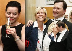Líbačka Jana Hrušínského s manželkou Miluší Šplechtovou za přítomnosti jeho údajné milenky Nikoly.