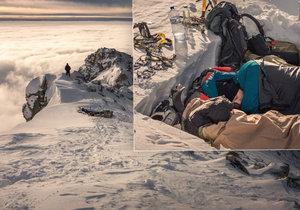 Slovenští dobrodruzi přespali v -20 °C na vrcholku hory Kriváň.