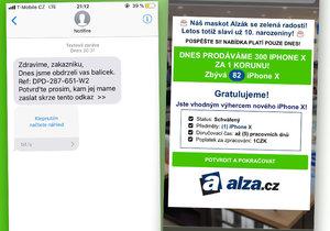 Českem se šíří podvodné sms, které lákají na iPhone X za korunu od Alzy. Člověk ale nic nedostane, akorát přijde o bankovní údaje