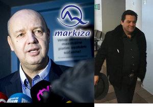 Televize Markíza se kvůli směnkám soudí s podnikatelem Marianem Kočnerem (vpravo) spojeným s Kuciakovými články. Směnky podepisoval tehdejší spolumajitel televize Pavol Rusko (vlevo).