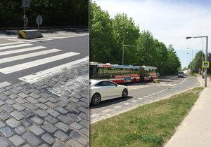 Přechody pro chodce v ulici Čs. exilu nemají příliš bezpečnostních prvků, podle TSK však splňují normy.