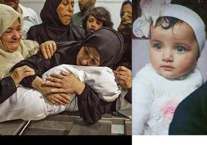 Pohřeb osmiměsíční Lajly Ghandúrové, která zemřela při palestinských protestech.