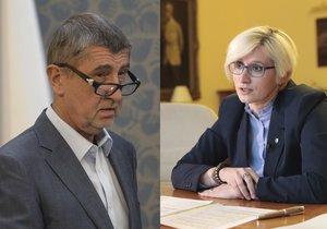 Premiér v demisi Andrej Babiš a Karla Šlechtová (oba ANO)