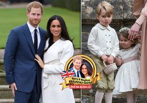Družičky a mládenci, kteří půjdou Harrymu a Meghan na královskou svatbu.