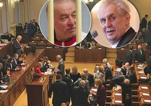 Poslanci mají jednat o výrocích Miloše Zeman ke kauze novičok. Prezident tvrdí, žes se látka vyráběla a testovala v Česku. Tajné služby to popírají