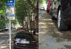 Vyznačení modrých zón na některých místech v Praze přestává být vidět.