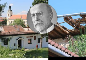 Na domku TGM se zřítila střecha