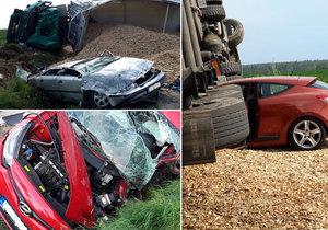 Řidička na Českobudějovicku vjela pod kamion, ten zavalil další dvě auta: Jejich posádky zázračně přežily