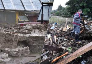 Bleskové záplavy v Brtnici: Způsobily je silné bouřky, napadané kroupy vytvořily metrový nános