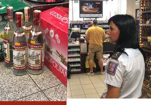 Padělané vodky v jednom z pražských obchodů