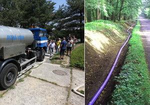 Není voda! Do Píště natáhli dva kilometry dlouhý suchovod, lidé musí ještě týdny vydržet