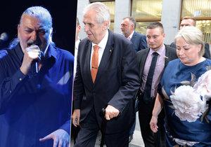 Miloš Zeman vyrazil s manželkou Ivanou na koncert Daniela Hůlky do Lucerny.