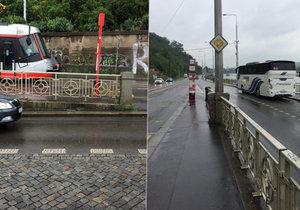 Na nábřeží Edvarda Beneše u Čechova mostu není pro chodce bezpečno. TSK tu chystá změny.