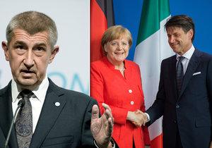 Andrej Babiš na minisummit do Bruselu nepojede, italský premiér Giuseppe Conte (vpravo) po telefonátu s Merkelovou ano