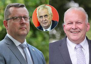 Ministerští kandidáti Petr Krčál a Antonín Staněk (oba ČSSD) se v pondělí sešli v Lánech s prezidentem Milošem Zemanem (25. 6. 2018).