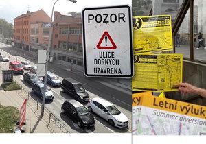 Místo památek čekají v létě na turisty v ulicích rozkopaného Brna všudypřítomné dopravní značky. Navíc linky MHD mají 44 výluk...!