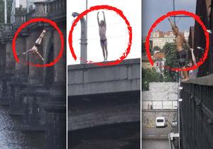 Kluci naráz skočili do Vltavy: Jeden z Libeňského, druhý z Palackého a třetí z výtoňského železničního mostu