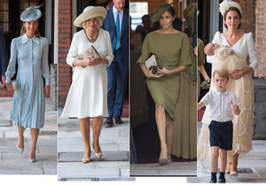 Vévodkyně Meghan Markle rozbila světlou garderóbu na křtinách prince Louise.