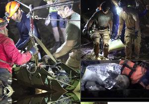 Záběry ze záchrany thajských chlapců a jejich trenéra
