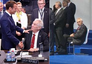 Prezident Zeman v Bruselu na summitu NATO: Pozdravil ho Macron, při focení dostal židli.