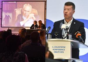 Volební konference SPD potvrdila, že hnutí povede další tři roky Tomio Okamura. Prezidenta Miloše Zemana pozvali, ten však poslal jen videozdravici.