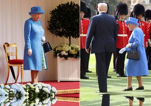 Královský trapas: Trump Alžbětě II. zatarasil cestu, musela kolem.