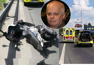 Bob Klepl měl nehodu na motorce.