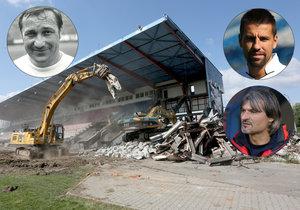 """Bazaly jdou k zemi! Do legendárního fotbalového stadionu se """"zakousl"""" bagr"""