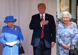 Královna Alžběta se tajně vysmála Trumpovi? Prozradily to její šperky!