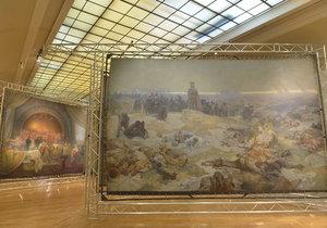 Část slavné Slovanské epopeje se vystavovala v Obecním domě.